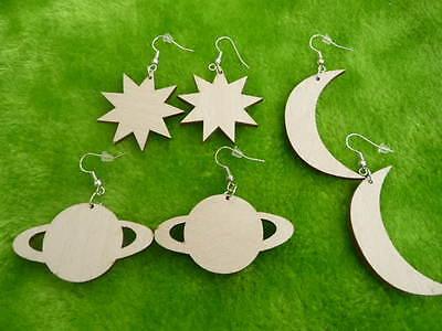 Wooden earrings kit natural plain wood craft decoupage laser cut moon star
