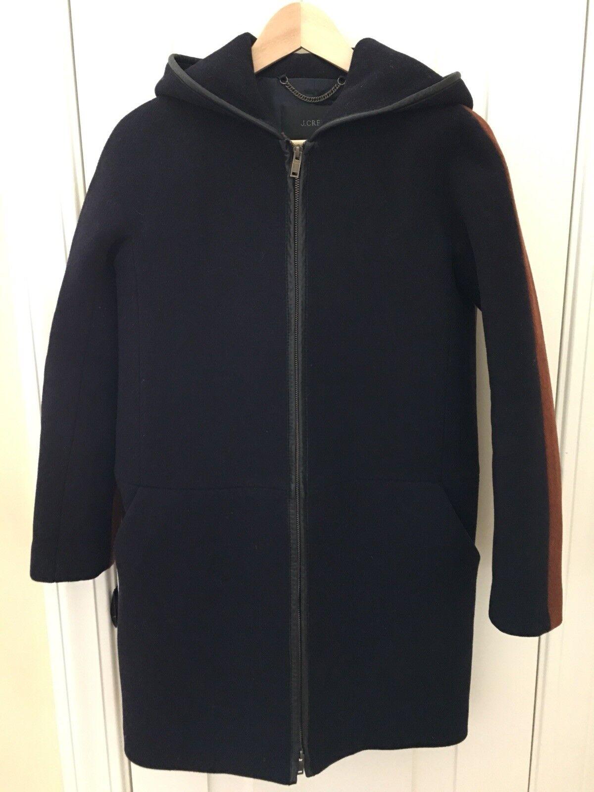 JCrew Stadium Cloth zippée à capuche Couleurblock hommeteau, bleu marine-Châtaigne, 0, cuir-Tipped