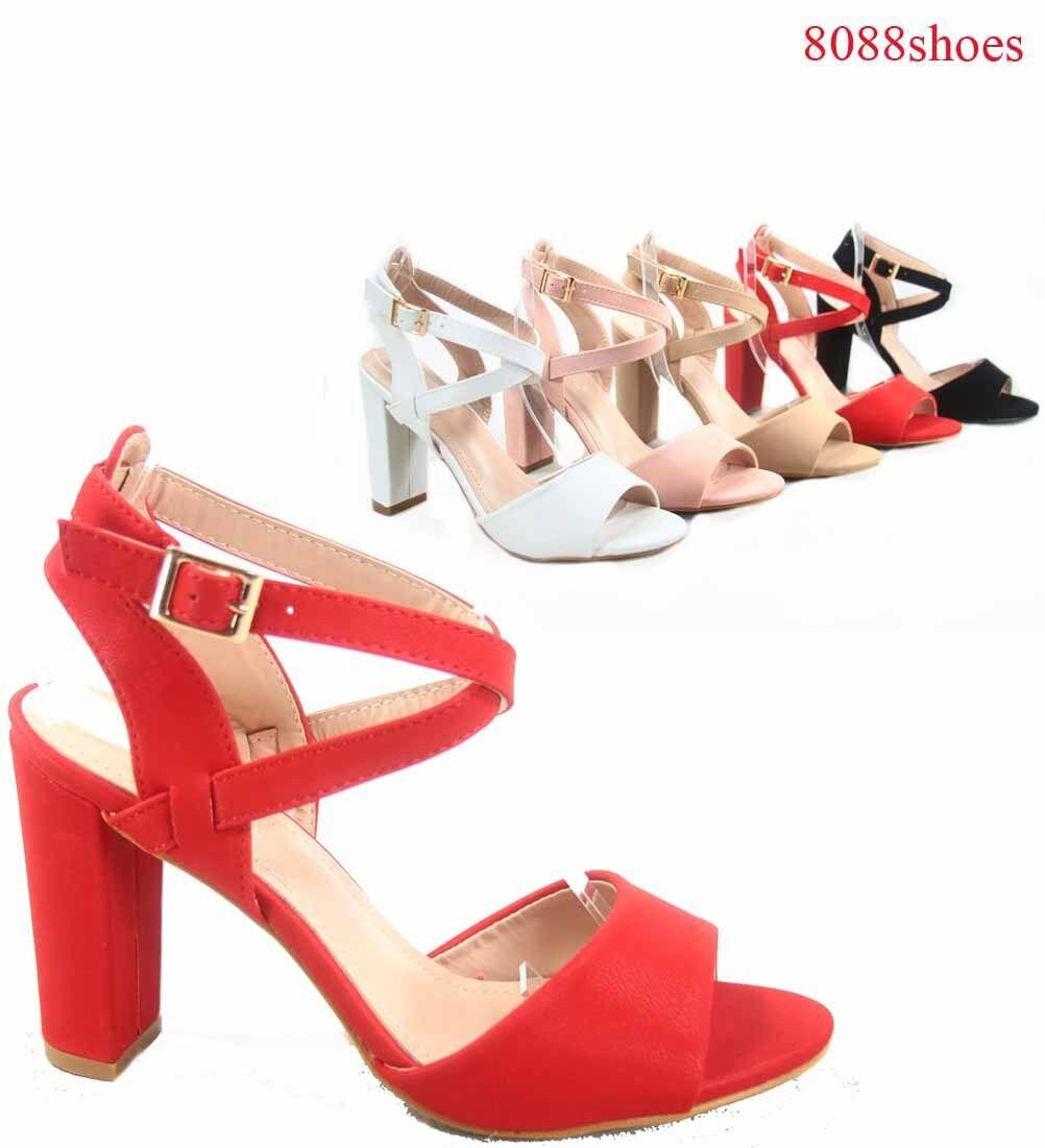 Women's High Open Toe Buckle Chunky High Women's Heel Dress Sandal Shoes Size 5 - 10 NEW 28817c