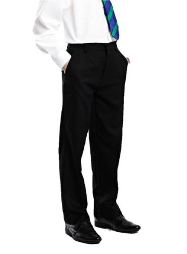 EX STORE Boys Black Charcoal Grey Navy School Trousers Slim Fit Age 3-16