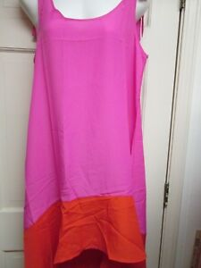 Hot-Pink-Orange-High-Low-Dress-by-Mud-Pie-Size-Small-4-6-NWT