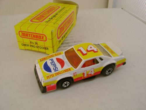 1983 Matchbox Superfast #34 Chevy Pro Stocker 14 Pepsi Challenger Neu IN Karton
