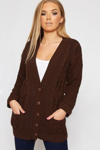 WOMENS LADIES LONG SLEEVE BUTTONED CHUNKY CABLE KNITTED CARDIGAN PLUS SIZE 10-24