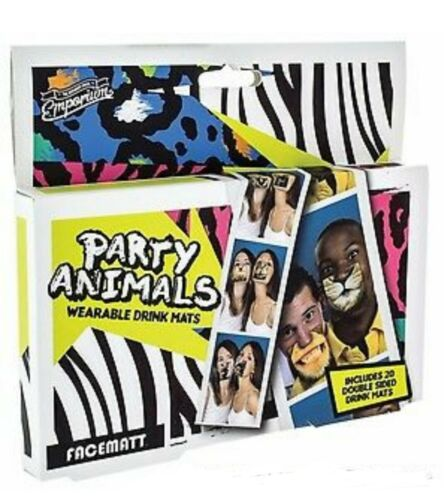 20 Party Animal Double Sided Clip On Beer Drink Face Mats-Hen Party Stag Night