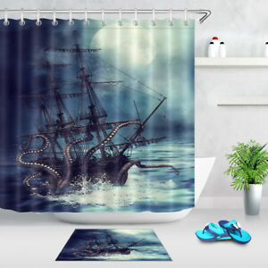 Octopus Tentacle Pirate Ship Waterproof Fabric Shower Curtain Hook