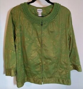 CHICO-039-S-Size-3-US-16-18-Women-039-s-Asian-Oriental-Style-Cropped-Green-Gold-Jacket