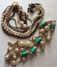 J Crew Necklace Lot Of 2 Faux Pearl Rhinestone