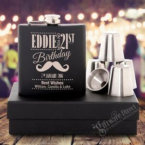 Image Is Loading Engraved Birthday Black Hip Flask GIFT SET 18th