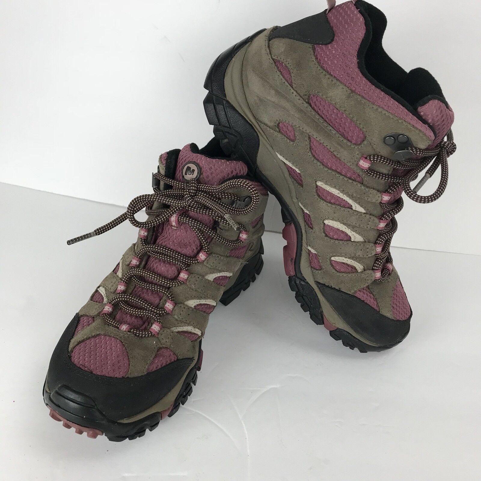 Merrell Hiking Walking Schuhes Select Dry Pink Tan Lace Up Damens Größe 8 Gore Tek