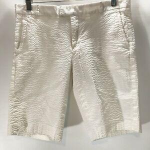 Banana-Republic-Shorts-Bermuda-Seersucker-White-Cotton-Stretch-Size-6