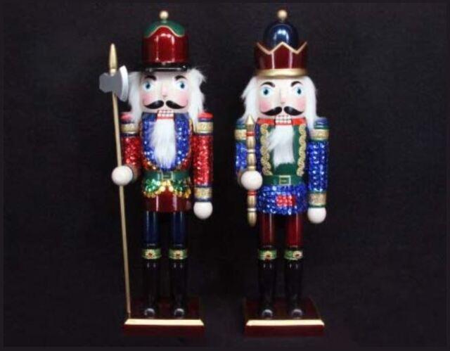 gisela graham wooden sequin nutcracker soldier christmas home display decoration