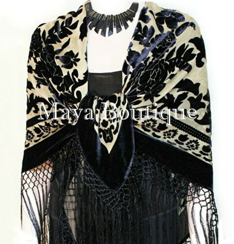 Silk Piano Shawl Wrap Scarf Burnout Velvet Beige /& Black Maya Matazaro
