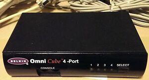 Used-Belkin-4-Port-KVM-Switch-F1D094-Omni-Cube-Switchbox