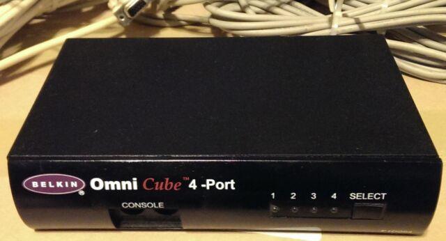 Used Belkin 4 Port KVM Switch F1D094 Omni Cube Switchbox