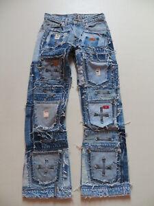 Levi-039-s-Designer-Jeans-Hose-W-30-L-32-Schwer-MEGA-Vintage-Patchwork-Unikat