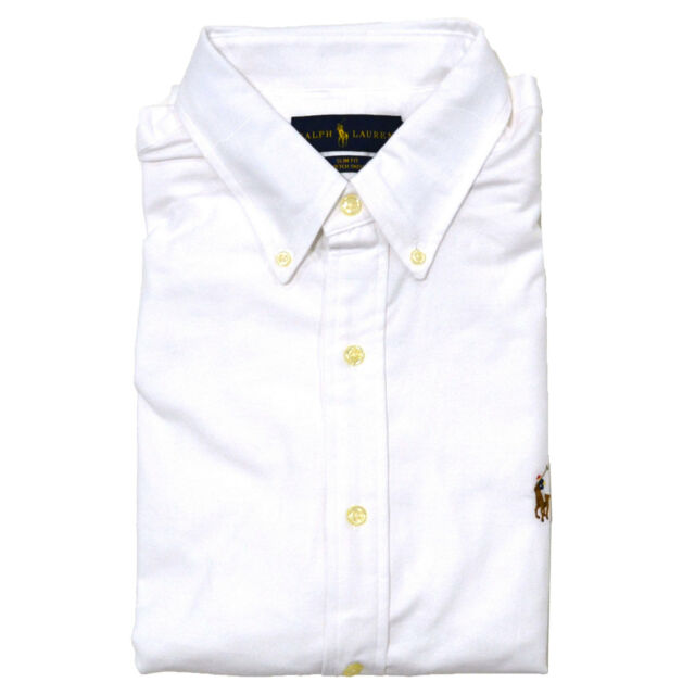 Polo Ralph Lauren Shirt Mens Slim Fit Stretch Oxford Buttondown Long ... f66bfee9f5c1