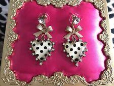 Betsey Johnson Vintage Ivory White & Black Polka Dot Lucite Heart Bow Earrings