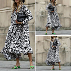 Oversize-Femme-Ruffled-Plisse-Manche-Longue-Imprime-Floral-Robe-Dresse-Ample