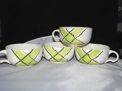 Plaid Stetson 8 Soup Bowls Christmas mismatch Highlander Green cottage country vintage midcentury