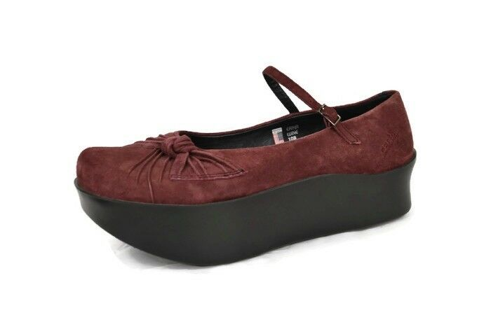 RARE  Earth Kalso  Erika  Platform Mary Jane Size 10 B Women's shoes Wine Suede