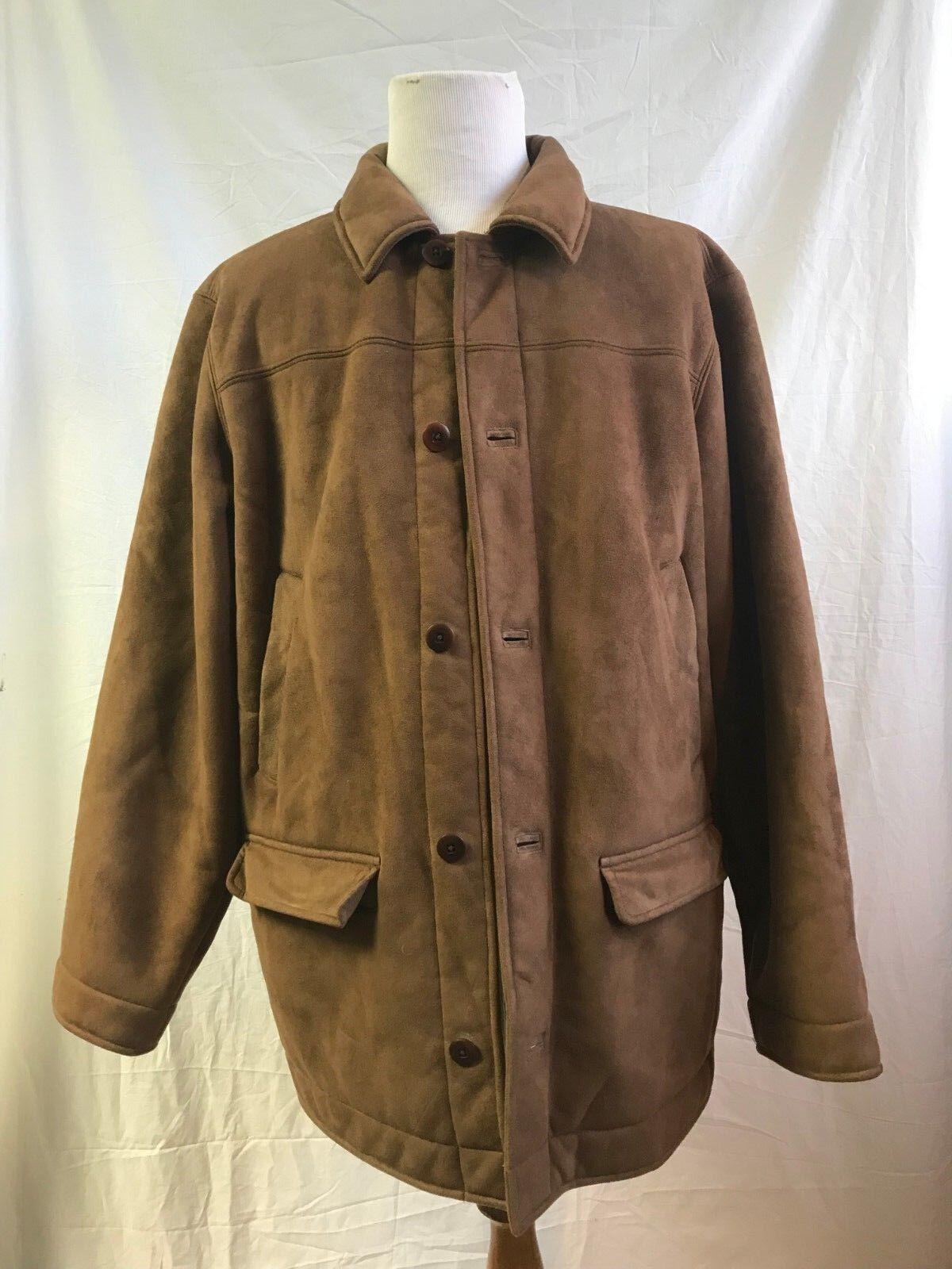 L.L. BEAN Faux Suede Sherpa Lined Button Front Ranchers Coat Men's XL