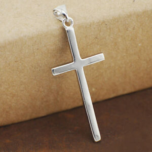 925-Sterling-Silver-Plain-Cross-Pendant-Necklace-Men-Women-A2322