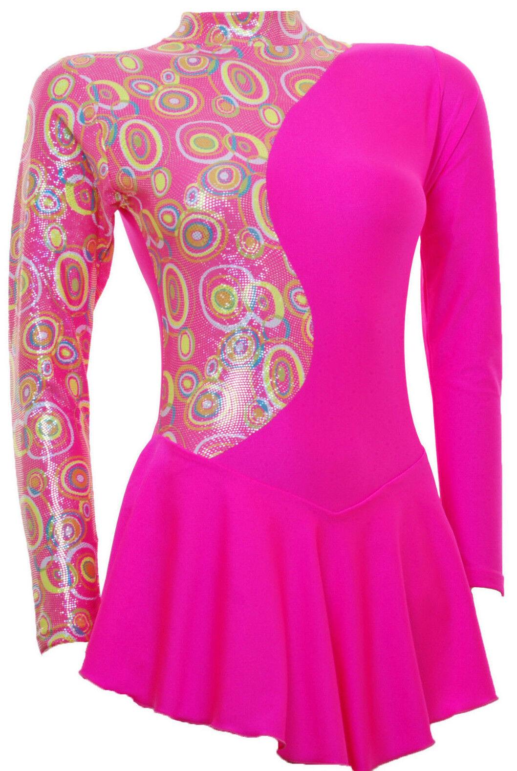 Skating Dress - Pink Multi Hologram Toffee Pink Lycra L S(S1000)