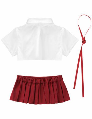 US/_ Women School Girl Cosplay Costume Crop Tops Pleated Skirt Uniform Lingerie
