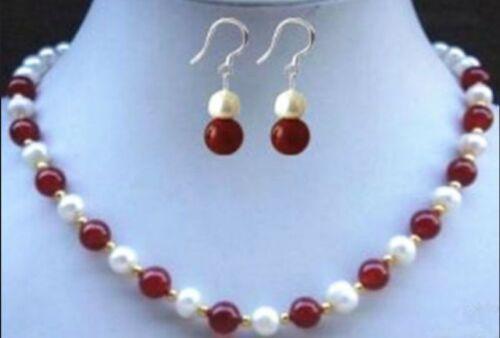 "8 mm Naturel Rouge Jade Perles Blanc Akoya culturel Collier De Perles 18/"" Boucles d/'oreilles"