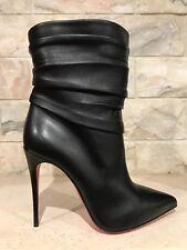 NIB Christian Louboutin Ishtar 100 Black Leather Ankle Heel Bootie 42 $1545