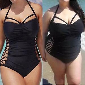 cdcff18a80ad0 Womens Plus Size Padded Monokini Swimsuit Push-up Bikini Swimwear ...