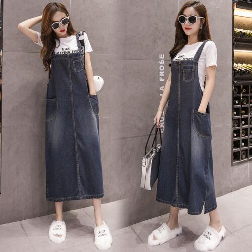 Uk8 22 denim scamiciato cinturino jeans scamosciati lungo donna da blu lunghi con Jeans in sciolto scuro U4AFqgF