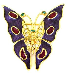 Captivating Image Is Loading Butterfly Brooch Gold Plated Purple Pin Crystal Enamel