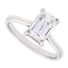 18K J/K VS1 2.00ct Solitaire Emerald Cut Diamond Engagement Ring Certified