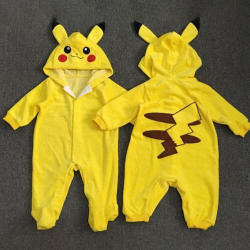 Newborn Baby Boys Girls Toddler Pokemon Pikachu Jumpsuit Romper Playsuit Clothes