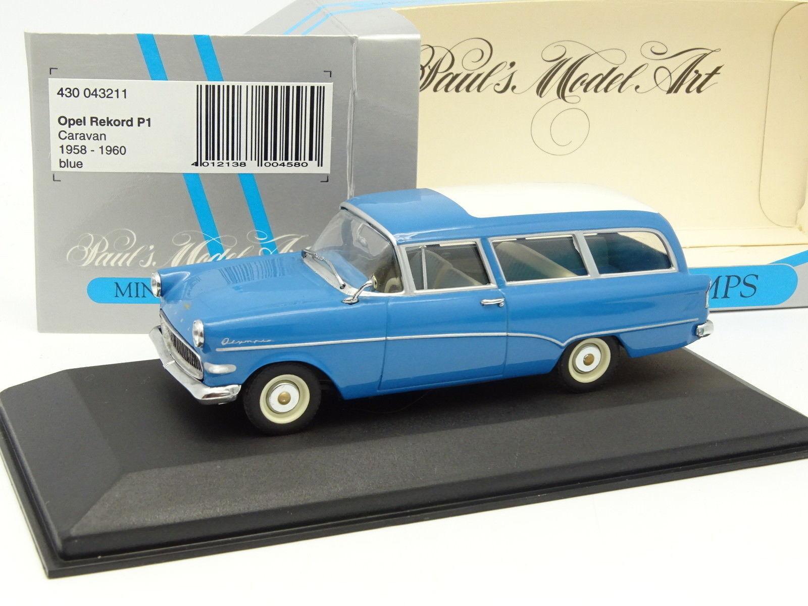 Minichamps 1 43 - opel rekord caravan bluee p1 1958
