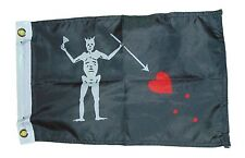 Pirate Edward Teach Blackbeard Flag Polyester 12 X 18 Inches Boat Motorcycle