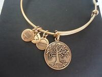 Alex And Ani Tree Of Life Russian Gold Charm Bangle W/ Tag Card & Box