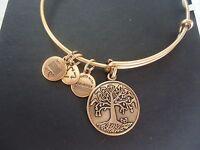 Alex And Ani Tree Of Life Russian Gold Charm Bangle W/ Tag Card & Box