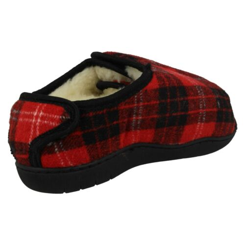 Memory Foam Spot On CT16008 Wide Fit Fur Lined E-5E FIT Slippers Wide Opening