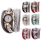 Women Rhinestone Pearl Leather Strap Crystal Bracelet Quartz Wrist Watch Duoya
