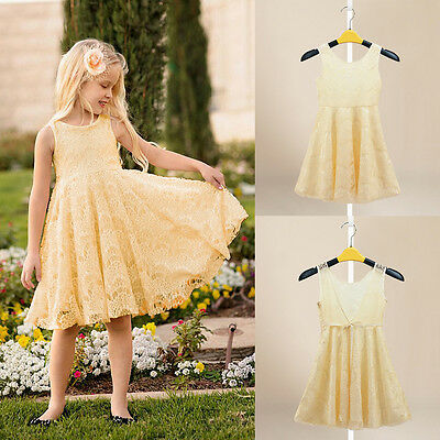 2015 Princess Baby Girls Party Lace Sleeveless Summer Casual Tutu Dress 2-11Y
