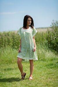 Womens-Vintage-Smock-Dress-Sundress-Boho-Hippie-Casual-Summer-Free-Size-8-12