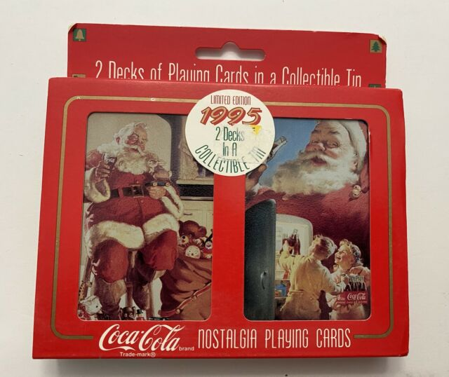 1995 COCA-COLA 2 Deck Nostalgia Playing Cards & Collectible Tin Unopened