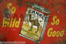 WEATHERED CHAMPION CAMEL CIGARETTE METAL BUILDING DIORAMA LAYOUT SIGN 3x2