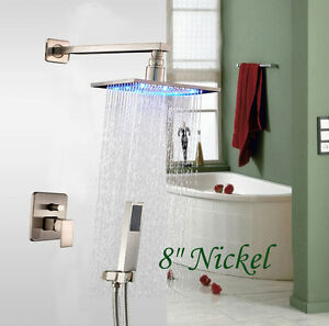 LED Brushed Nickel 8 Square Rain Shower Head Valve Mixer Tap W Hand Sh