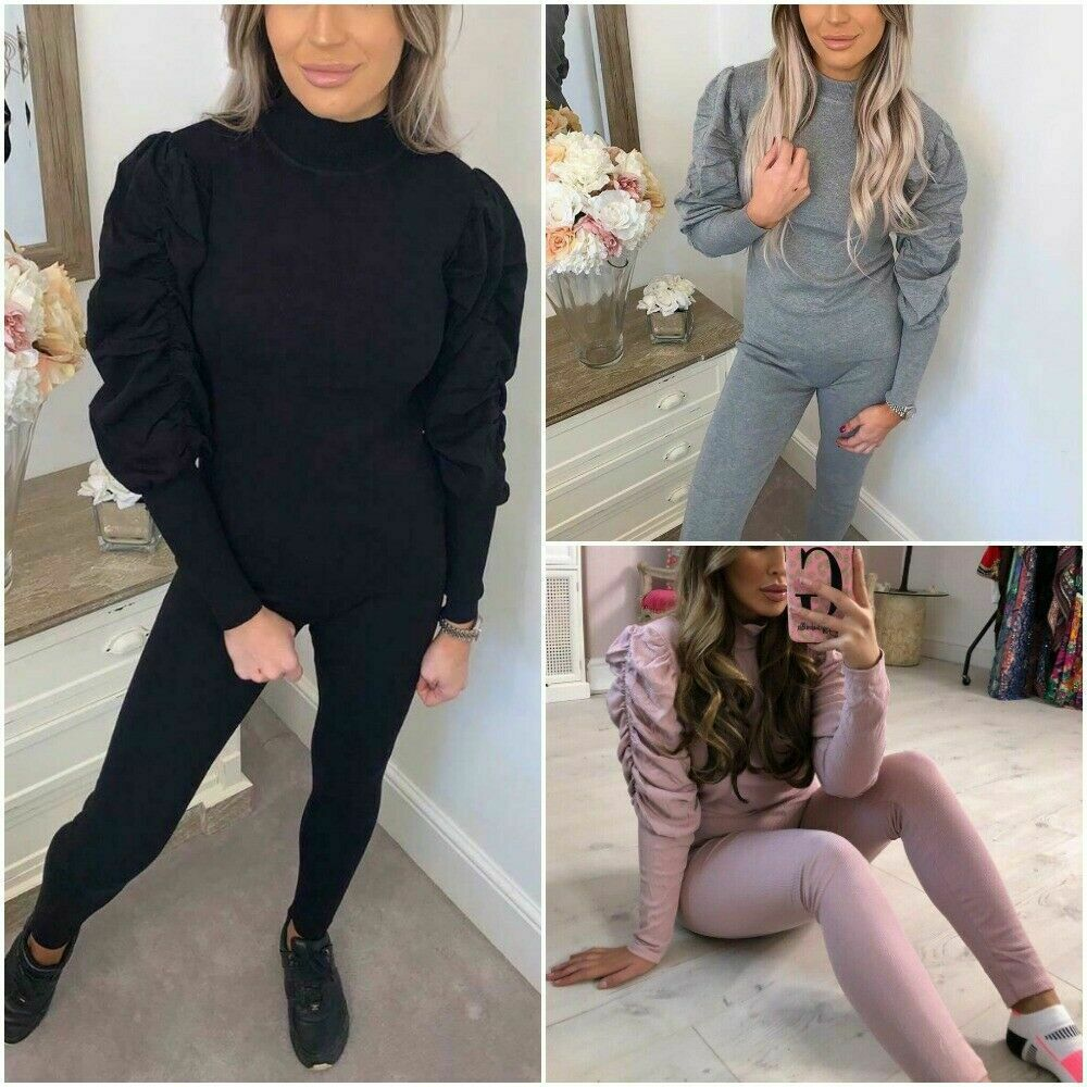 Ladies High Neck Ruched Ribbed Loungewear Tracksuit Set Puff Sleeve Top Bottom
