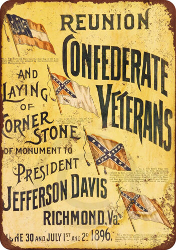1896 Reunion of Confederate Veterans Vintage Look Reproduction Metal sign 8 x 12