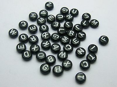 250 Black with White Acrylic Assorted Alphabet Letter Coin Beads 4X7mm