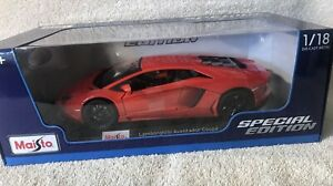 Lamborghini-Aventador-Coupe-Rojo-Coche-Modelo-1-18-Maisto-Edicion-Especial